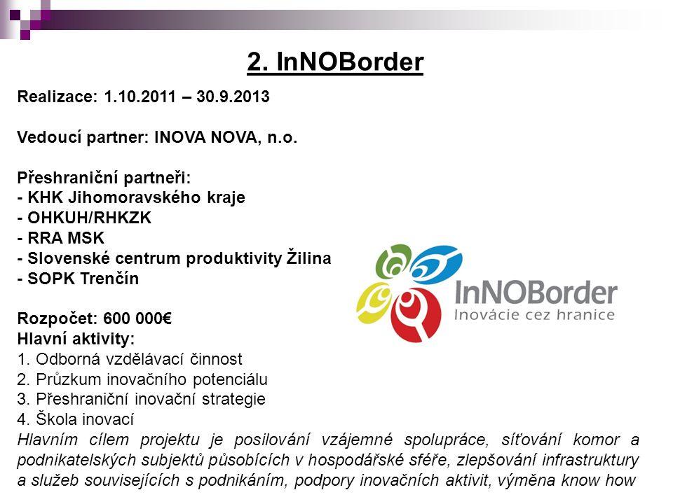 2. InNOBorder Realizace: 1.10.2011 – 30.9.2013 Vedoucí partner: INOVA NOVA, n.o.