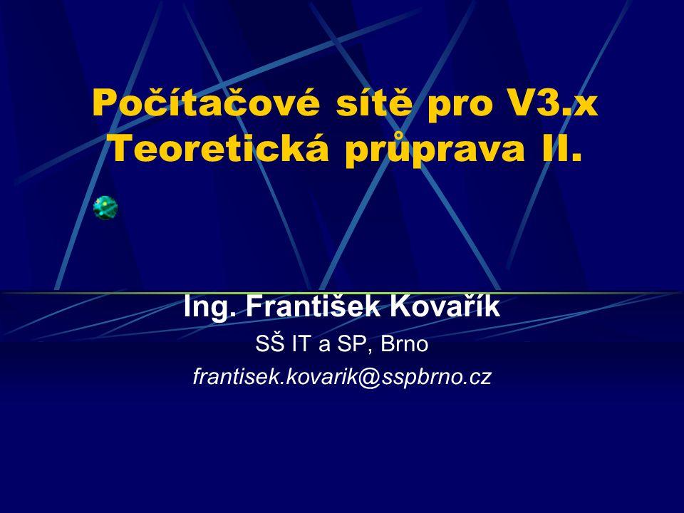 Počítačové sítě pro V3.x Teoretická průprava II. Ing.
