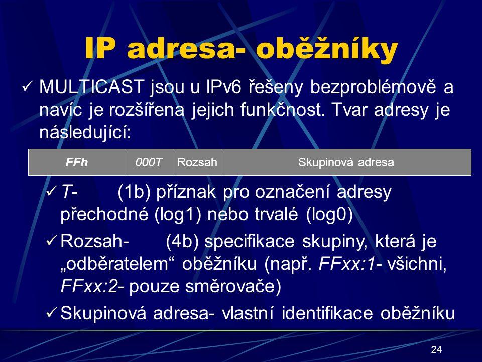 24 IP adresa- oběžníky MULTICAST jsou u IPv6 řešeny bezproblémově a navíc je rozšířena jejich funkčnost.