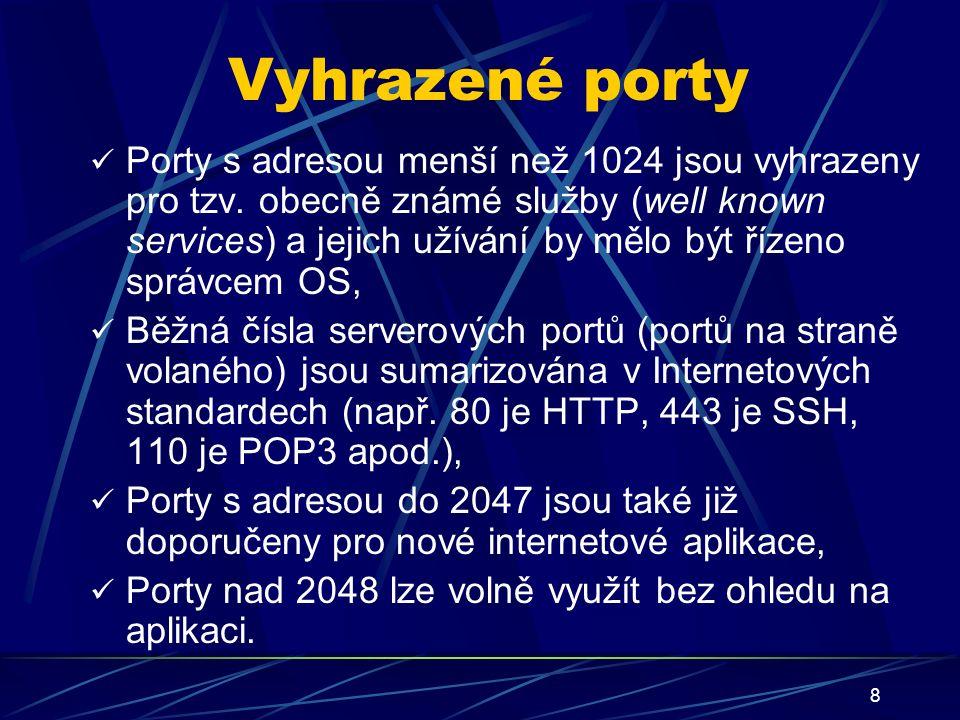 8 Vyhrazené porty Porty s adresou menší než 1024 jsou vyhrazeny pro tzv.