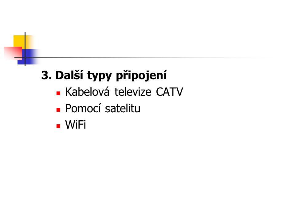 3. Další typy připojení Kabelová televize CATV Pomocí satelitu WiFi