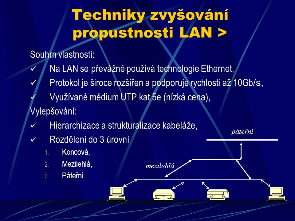 "Wide area network (WAN) Čas tv < ts, Je to síť sítí (Internet), Je tvořena LAN nebo MAN napojenými ""providery Internetu, Použitá linková technologie xDSL, FDDI, WiFi (směrové spoje) nebo i Ethernet, Nabízí infrastrukturní služby (DNS apod.) do Internetu, Administrace rozdělena na provozovatele."