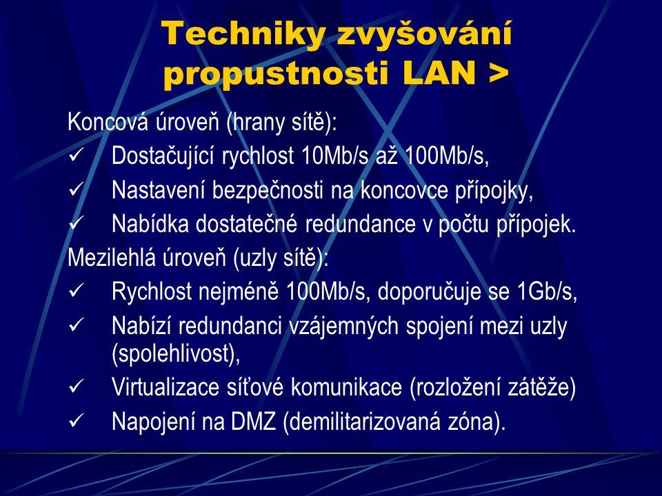 Techniky zvyšování propustnosti LAN > Souhrn vlastností: Na LAN se převážně používá technologie Ethernet, Protokol je široce rozšířen a podporuje rychlosti až 10Gb /s, Využívané médium UTP kat 5e (nízká cena), Vylepšování: Hierarchizace a strukturalizace kabeláže, Rozdělení do 3 úrovní 1.