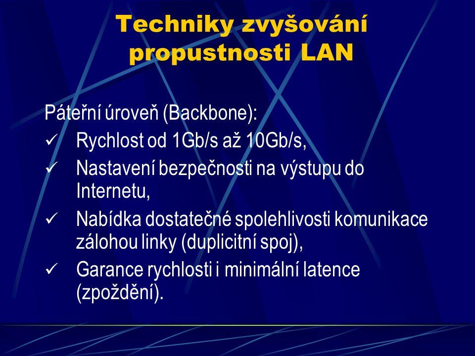 Techniky zvyšování propustnosti LAN > Koncová úroveň (hrany sítě): Dostačující rychlost 10Mb/s až 100Mb/s, Nastavení bezpečnosti na koncovce přípojky, Nabídka dostatečné redundance v počtu přípojek.
