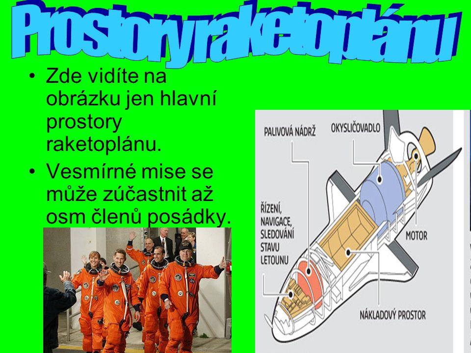 Zde vidíte na obrázku jen hlavní prostory raketoplánu.