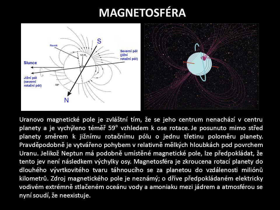 MAGNETOSFÉRA Uranovo magnetické pole je zvláštní tím, že se jeho centrum nenachází v centru planety a je vychýleno téměř 59° vzhledem k ose rotace.