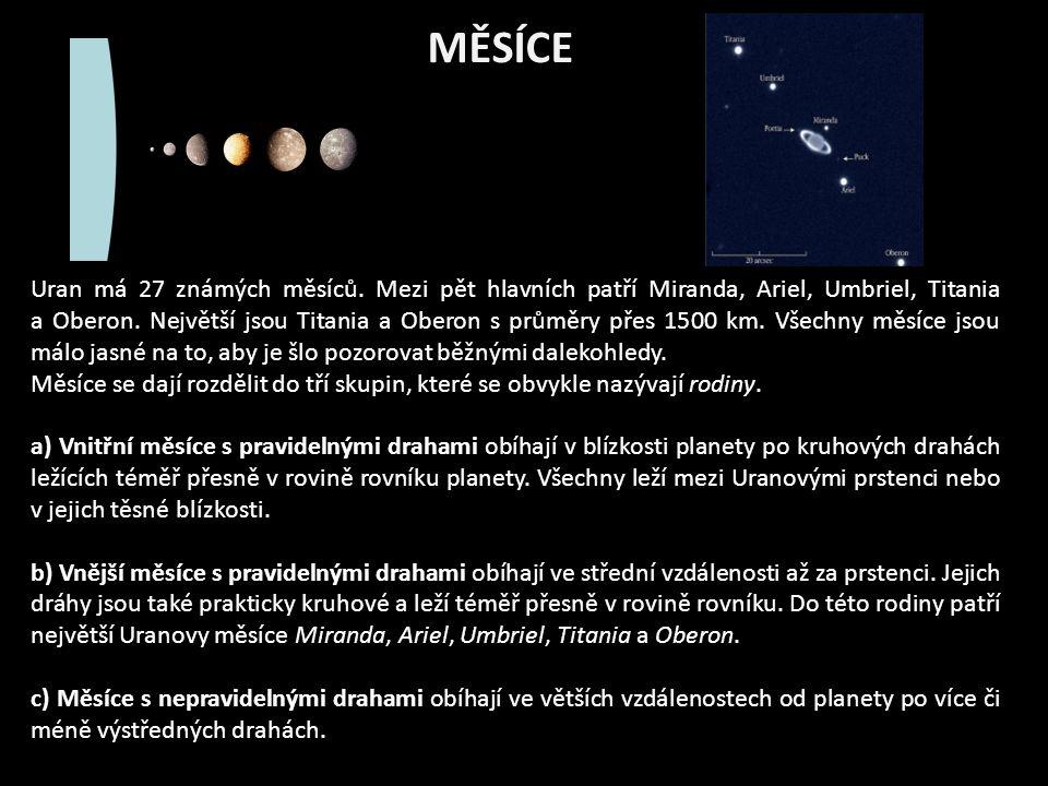 MĚSÍCE Uran má 27 známých měsíců.
