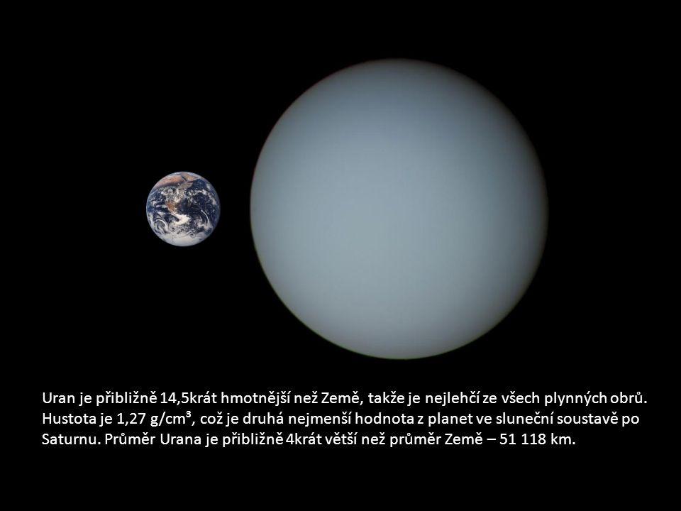 Uran je přibližně 14,5krát hmotnější než Země, takže je nejlehčí ze všech plynných obrů.