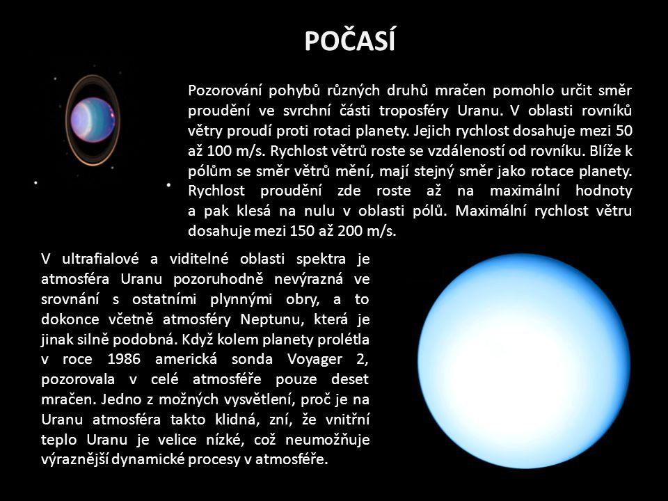 POČASÍ Pozorování pohybů různých druhů mračen pomohlo určit směr proudění ve svrchní části troposféry Uranu.