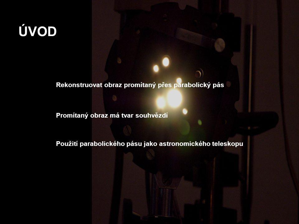 ÚVOD Rekonstruovat obraz promítaný přes parabolický pás Promítaný obraz má tvar souhvězdí Použití parabolického pásu jako astronomického teleskopu