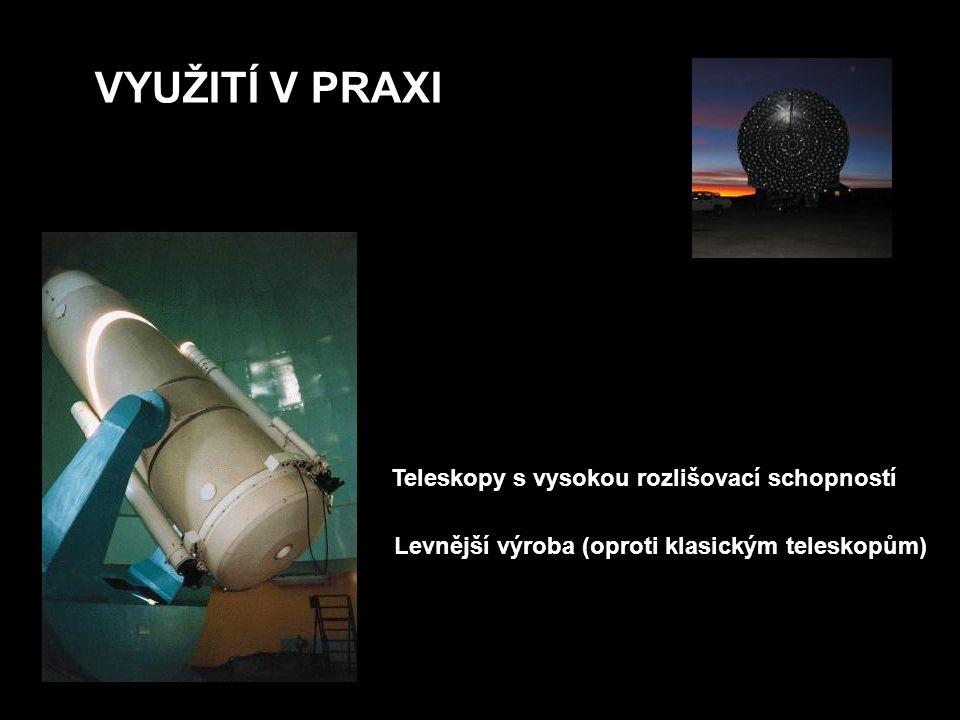 VYUŽITÍ V PRAXI Teleskopy s vysokou rozlišovací schopností Levnější výroba (oproti klasickým teleskopům)