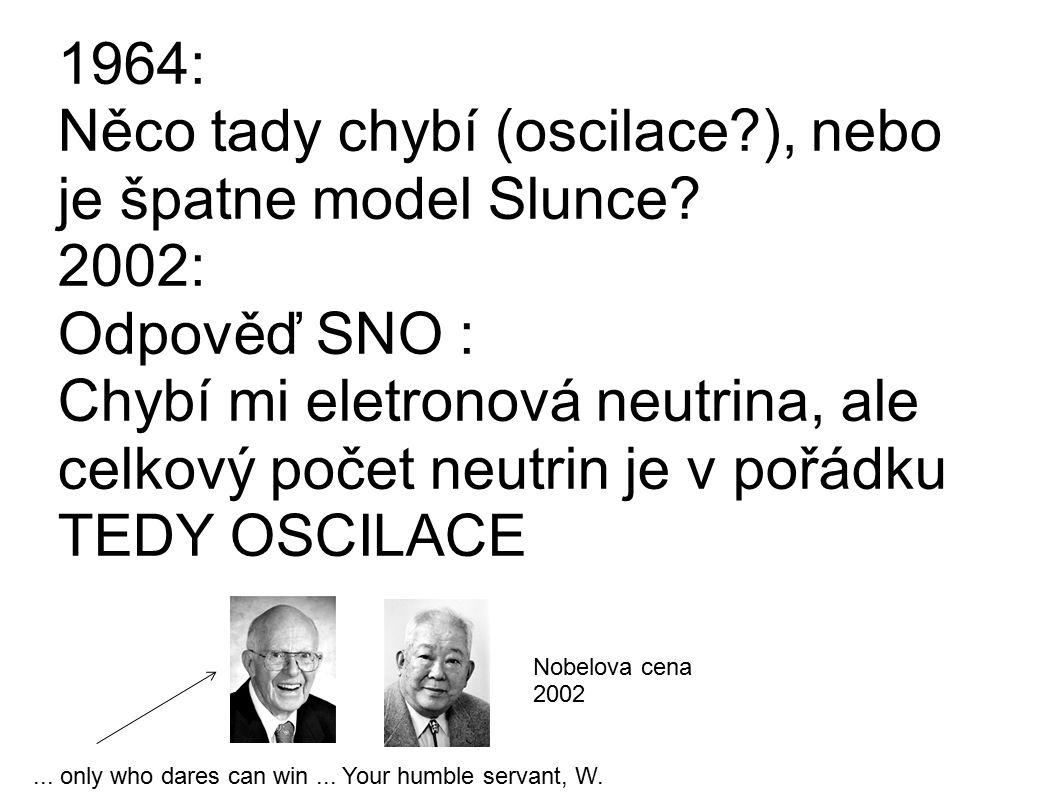 1964: Něco tady chybí (oscilace?), nebo je špatne model Slunce? 2002: Odpověď SNO : Chybí mi eletronová neutrina, ale celkový počet neutrin je v pořád