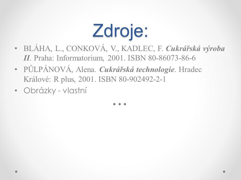 Zdroje: BLÁHA, L., CONKOVÁ, V., KADLEC, F. Cukrářská výroba II. Praha: Informatorium, 2001. ISBN 80-86073-86-6 PŮLPÁNOVÁ, Alena. Cukrářská technologie