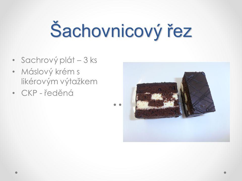 Šachovnicový řez Sachrový plát – 3 ks Máslový krém s likérovým výtažkem CKP - ředěná