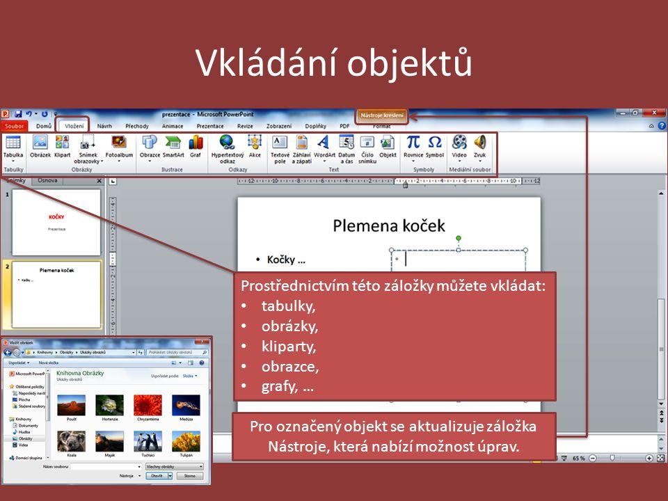 Vkládání objektů Prostřednictvím této záložky můžete vkládat: tabulky, obrázky, kliparty, obrazce, grafy, … Pro označený objekt se aktualizuje záložka Nástroje, která nabízí možnost úprav.