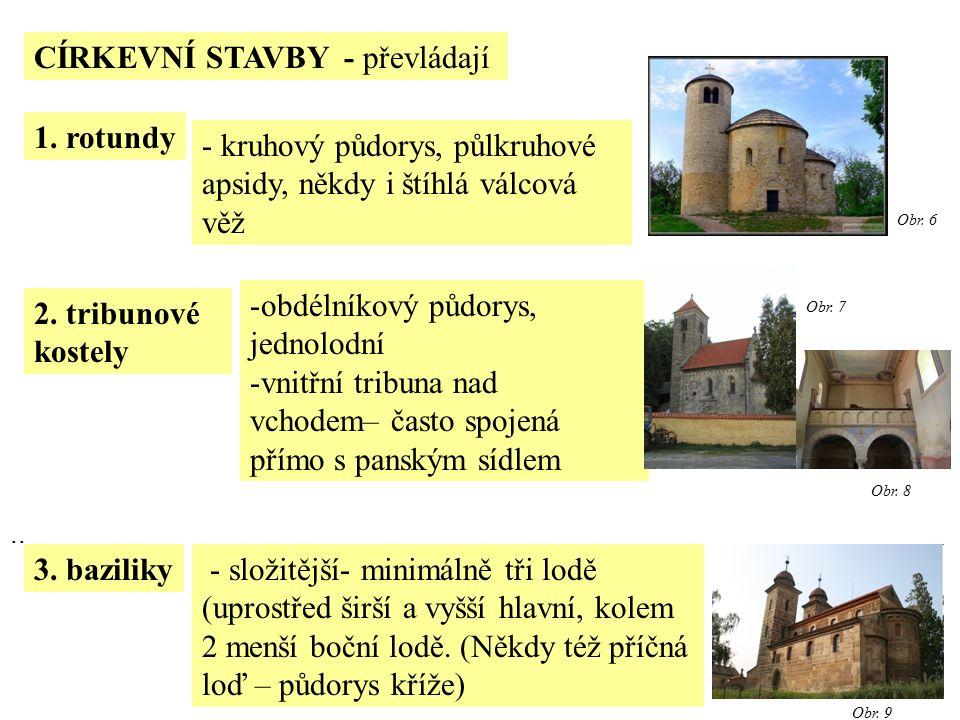 CÍRKEVNÍ STAVBY - převládají.. 1. rotundy 2. tribunové kostely 3.