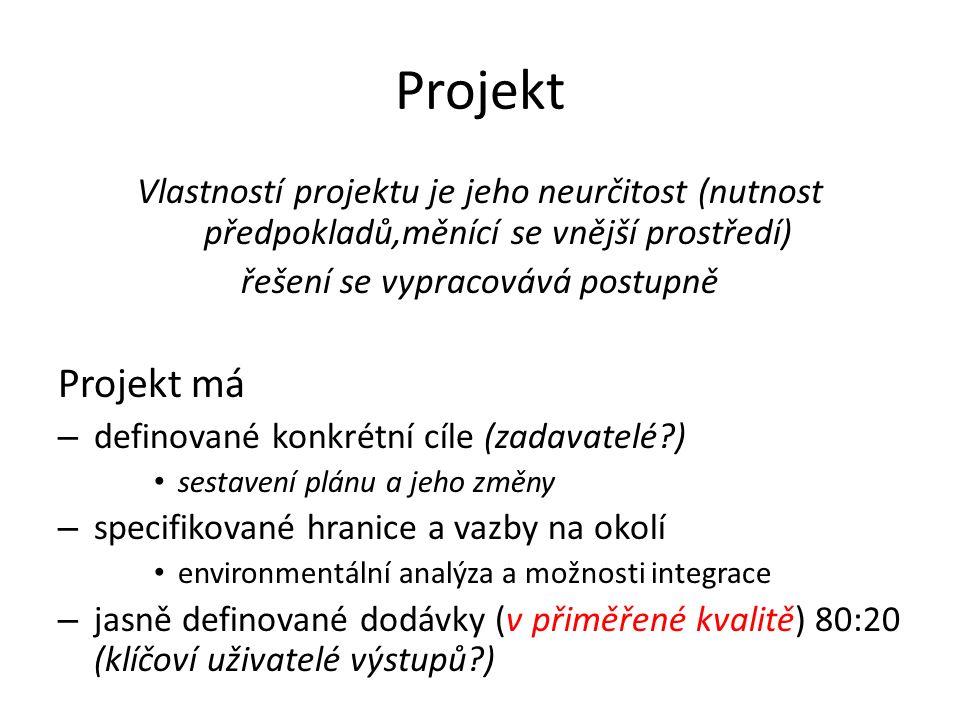 Projekt Vlastností projektu je jeho neurčitost (nutnost předpokladů,měnící se vnější prostředí) řešení se vypracovává postupně Projekt má – definované