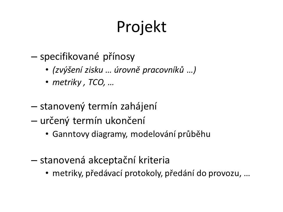 Projekt – specifikované přínosy (zvýšení zisku … úrovně pracovníků …) metriky, TCO, … – stanovený termín zahájení – určený termín ukončení Ganntovy di