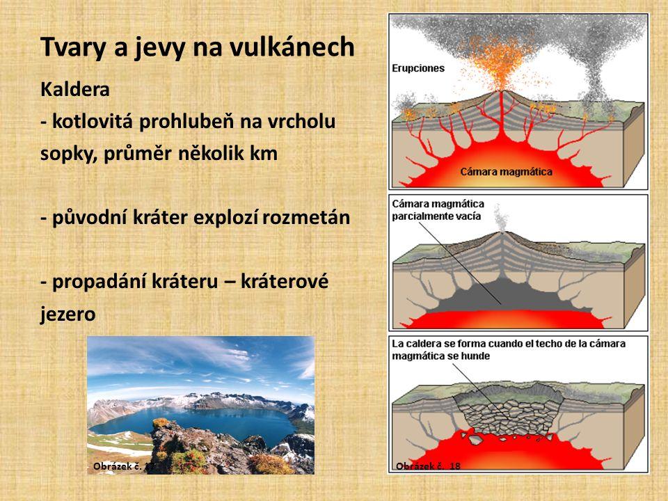 Tvary a jevy na vulkánech Kaldera - kotlovitá prohlubeň na vrcholu sopky, průměr několik km - původní kráter explozí rozmetán - propadání kráteru – kráterové jezero Obrázek č.
