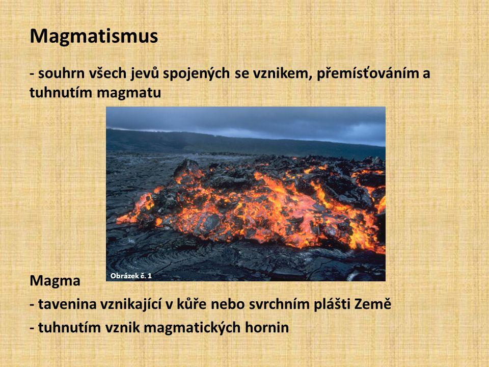 Magmatismus - souhrn všech jevů spojených se vznikem, přemísťováním a tuhnutím magmatu Magma - tavenina vznikající v kůře nebo svrchním plášti Země - tuhnutím vznik magmatických hornin Obrázek č.