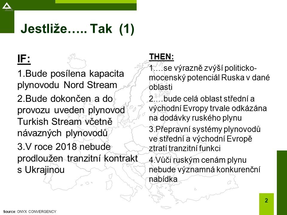Source: ONYX CONVERGENCY Jestliže….. Tak (1) IF: 1.Bude posílena kapacita plynovodu Nord Stream 2.Bude dokončen a do provozu uveden plynovod Turkish S