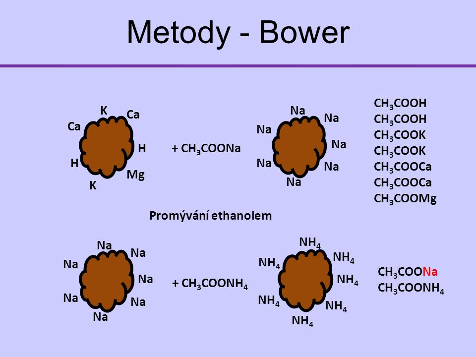 Metody - Bower H K Ca H Mg Ca K + CH 3 COONa Na CH 3 COOH CH 3 COOK CH 3 COOCa CH 3 COOMg Promývání ethanolem Na + CH 3 COONH 4 NH 4 CH 3 COONa CH 3 COONH 4
