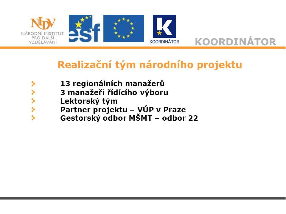 KOORDINÁTOR Realizační tým národního projektu 13 regionálních manažerů 3 manažeři řídícího výboru Lektorský tým Partner projektu – VÚP v Praze Gestors