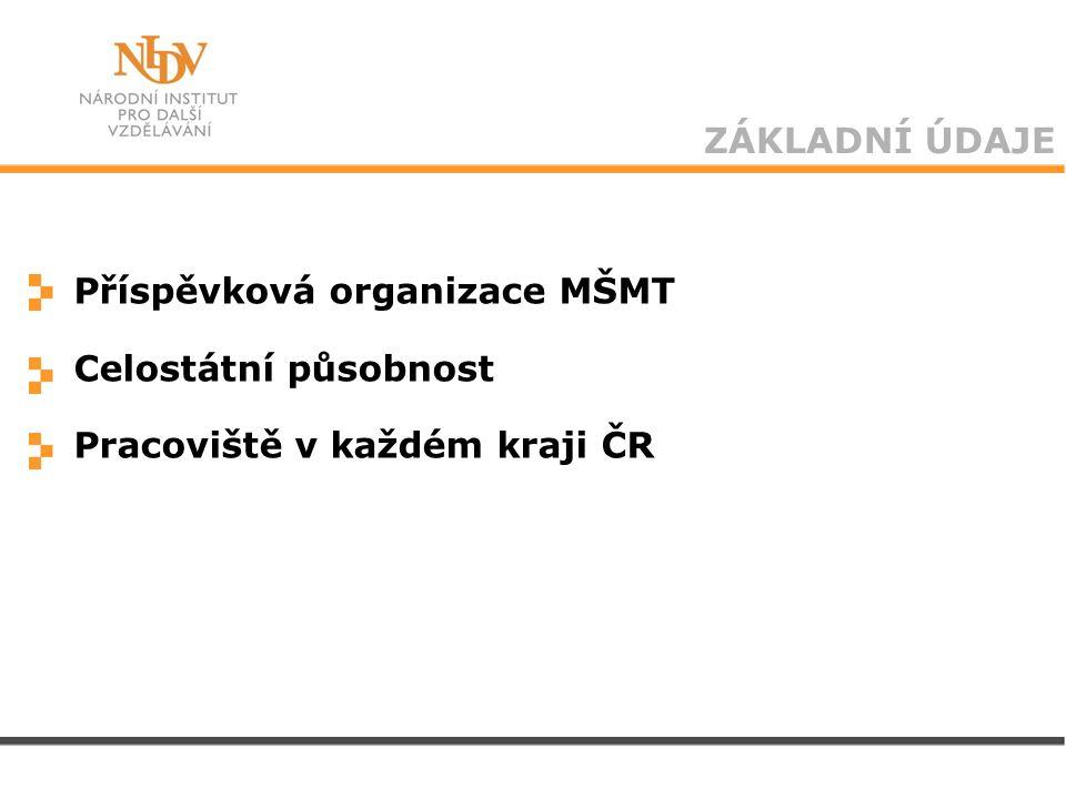 ZÁKLADNÍ ÚDAJE Příspěvková organizace MŠMT Celostátní působnost Pracoviště v každém kraji ČR