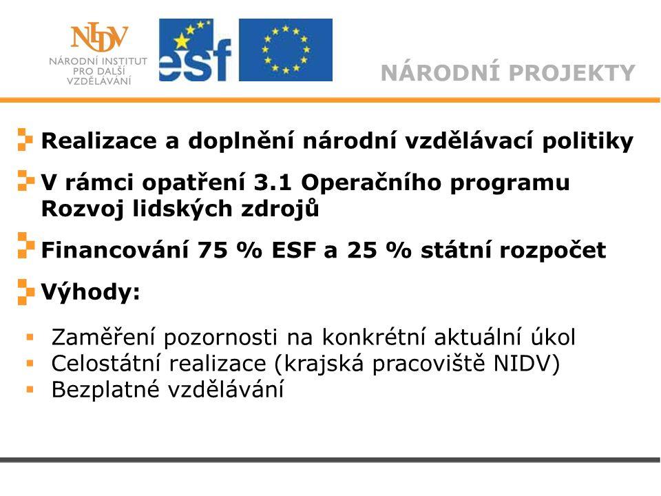 NÁRODNÍ PROJEKTY Realizace a doplnění národní vzdělávací politiky V rámci opatření 3.1 Operačního programu Rozvoj lidských zdrojů Financování 75 % ESF