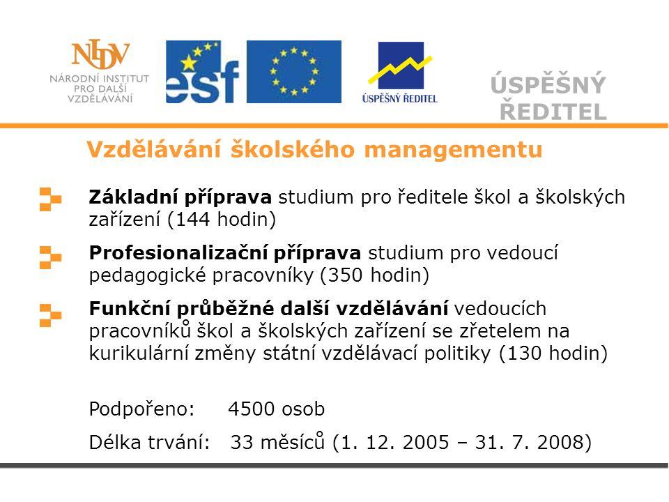 ÚSPĚŠNÝ ŘEDITEL Základní příprava studium pro ředitele škol a školských zařízení (144 hodin) Profesionalizační příprava studium pro vedoucí pedagogick
