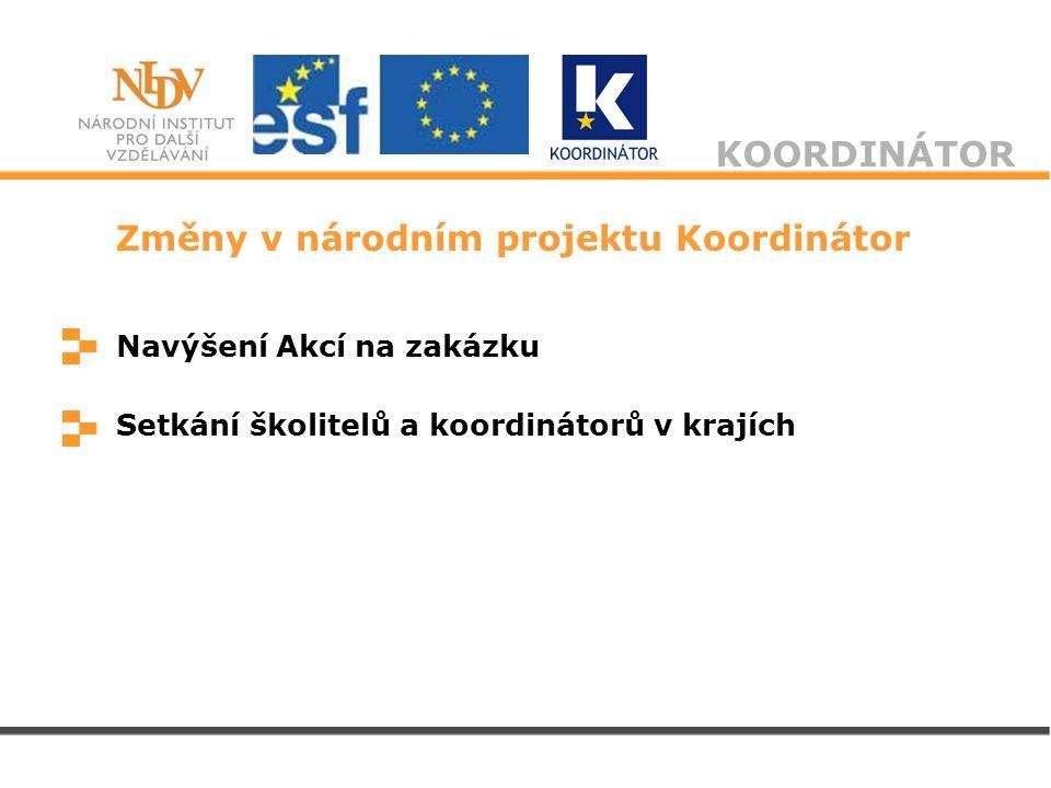 KOORDINÁTOR Změny v národním projektu Koordinátor Navýšení Akcí na zakázku Setkání školitelů a koordinátorů v krajích
