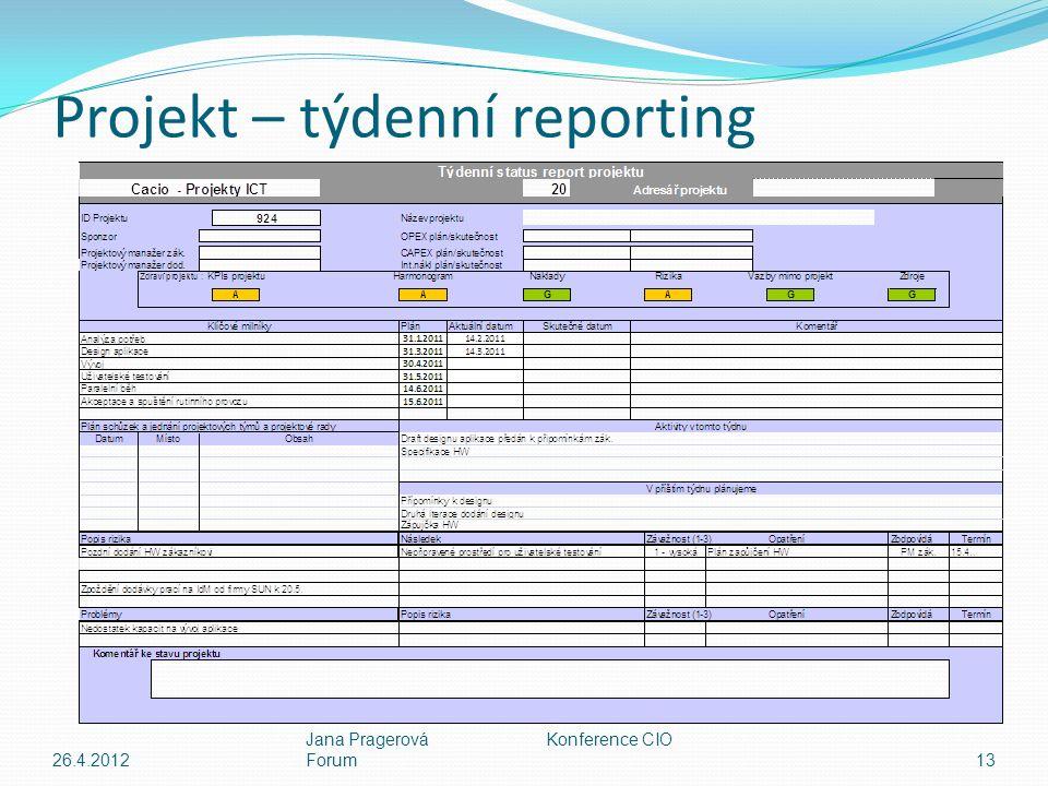 Projekt – týdenní reporting 26.4.2012 Jana Pragerová Konference CIO Forum13