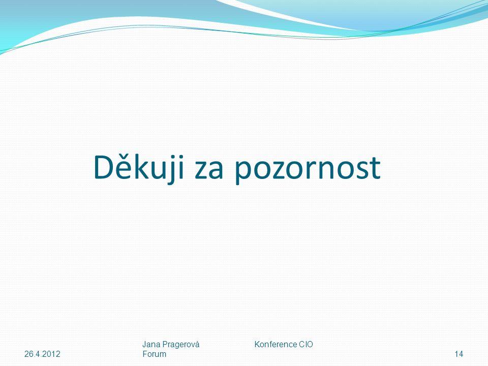 Děkuji za pozornost 26.4.2012 Jana Pragerová Konference CIO Forum14