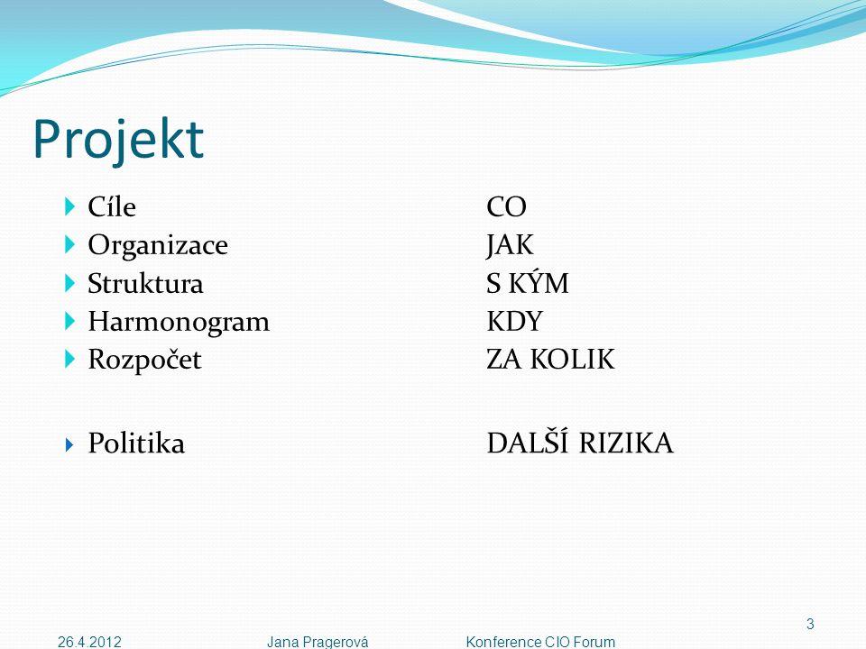 Projekt  CíleCO  OrganizaceJAK  StrukturaS KÝM  HarmonogramKDY  Rozpočet ZA KOLIK 3  PolitikaDALŠÍ RIZIKA 26.4.2012Jana Pragerová Konference CIO Forum