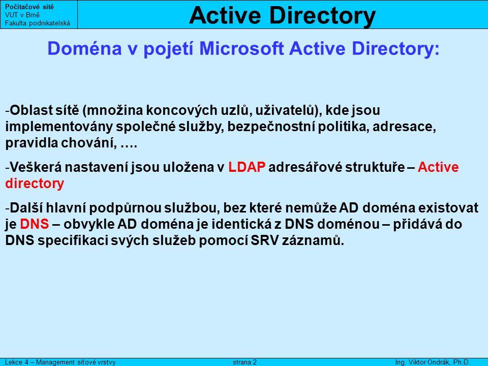 Počítačové sítě VUT v Brně Fakulta podnikatelská Lekce 4 – Management síťové vrstvyIng.
