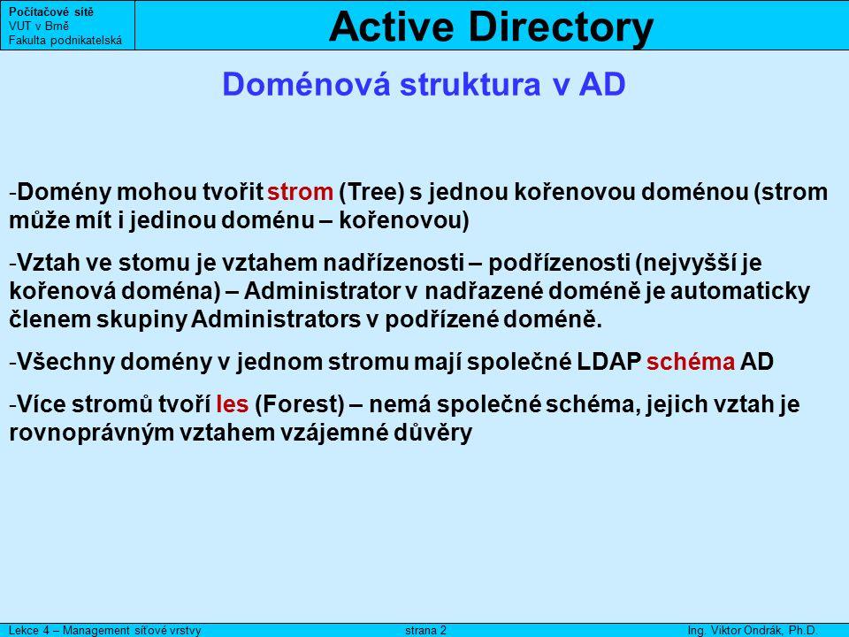 Active Directory Počítačové sítě VUT v Brně Fakulta podnikatelská Lekce 4 – Management síťové vrstvyIng. Viktor Ondrák, Ph.D.strana 2 Doménová struktu