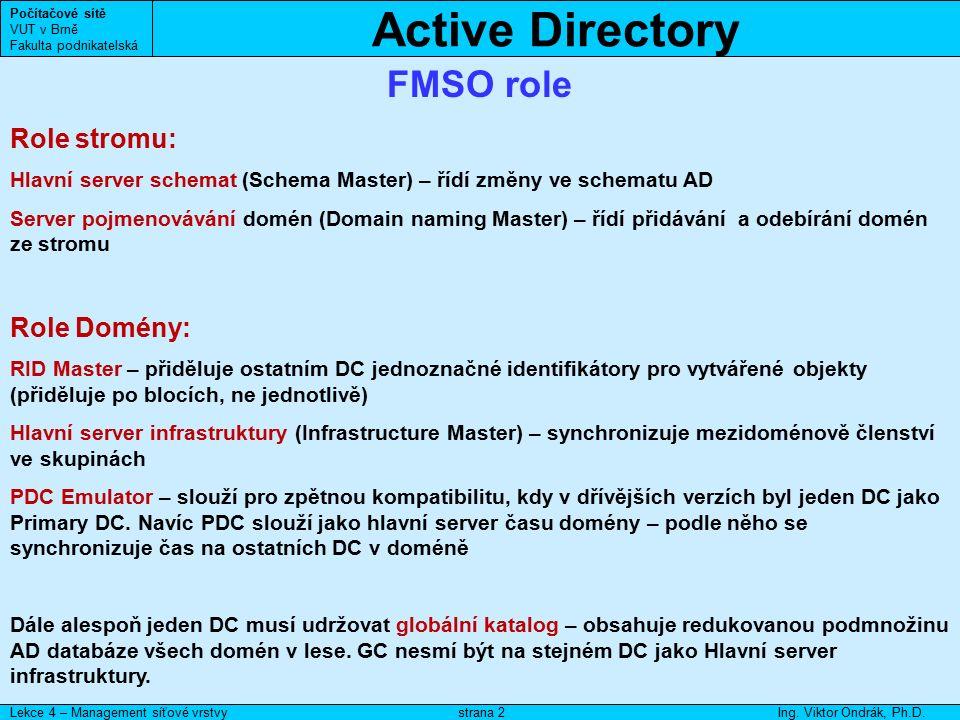 Active Directory Počítačové sítě VUT v Brně Fakulta podnikatelská Lekce 4 – Management síťové vrstvyIng. Viktor Ondrák, Ph.D.strana 2 FMSO role Role s