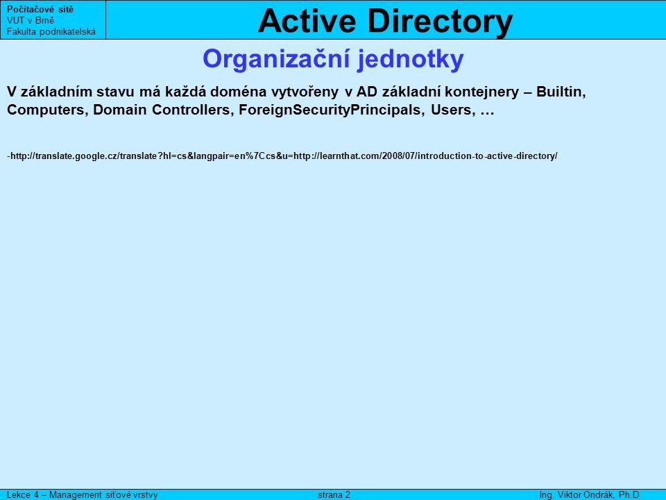Active Directory Počítačové sítě VUT v Brně Fakulta podnikatelská Lekce 4 – Management síťové vrstvyIng. Viktor Ondrák, Ph.D.strana 2 Organizační jedn