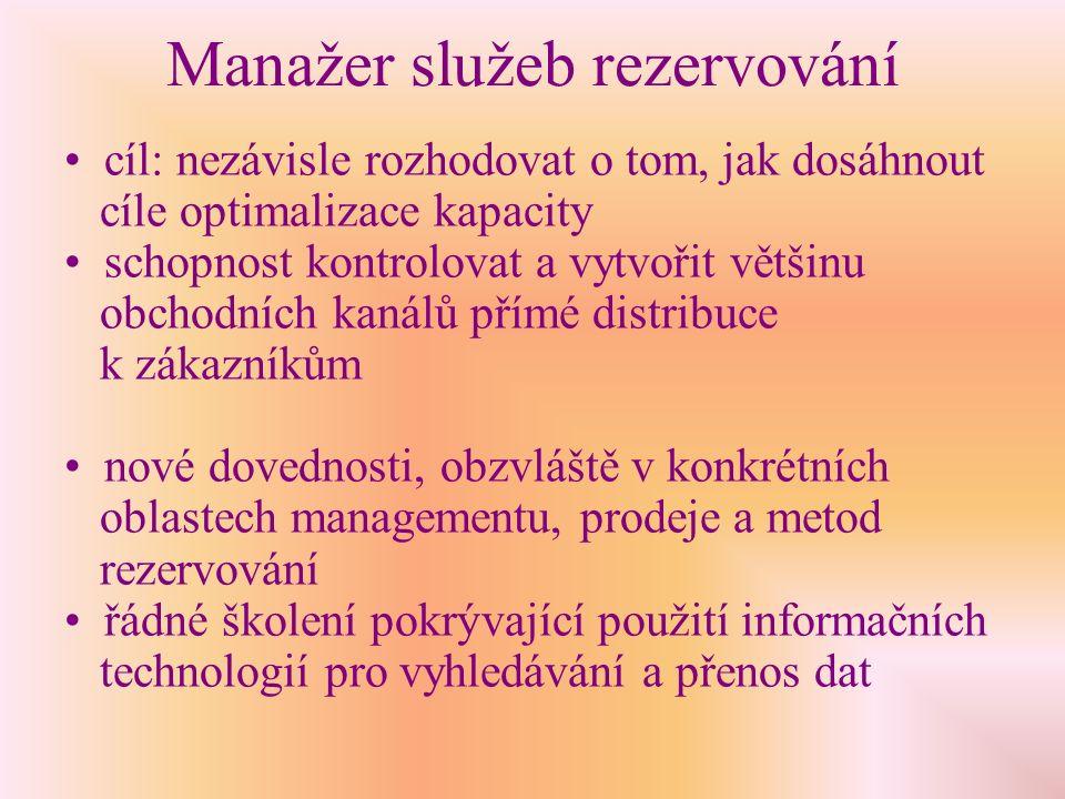 Manažer služeb rezervování Změny kompetencí :  nové úkoly, zejména v oblasti managementu a zavádění ziskového managementu.