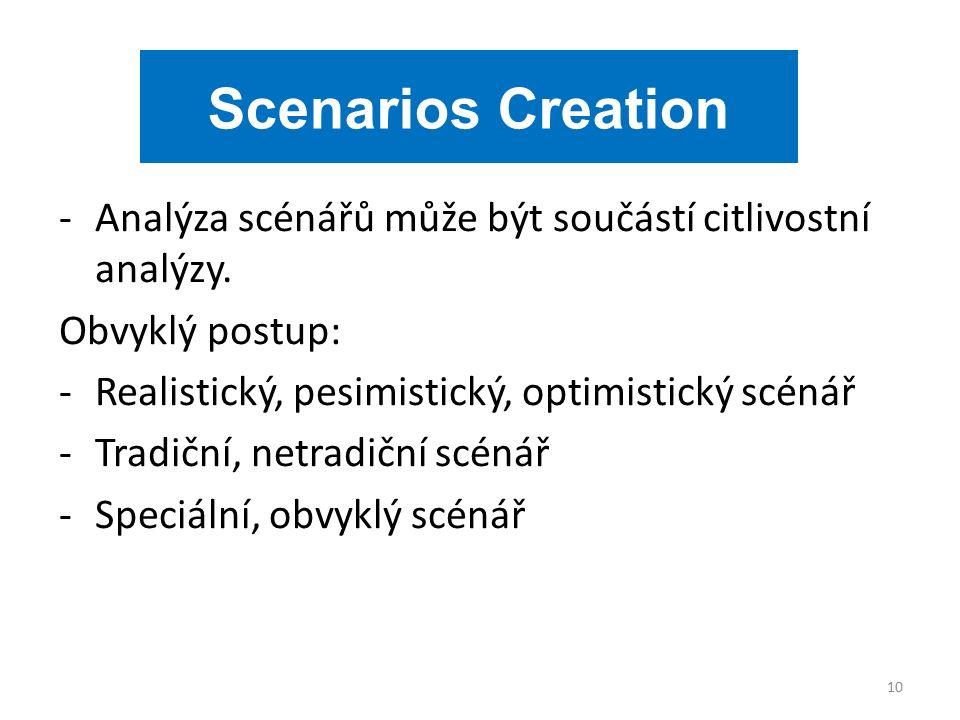-Analýza scénářů může být součástí citlivostní analýzy.