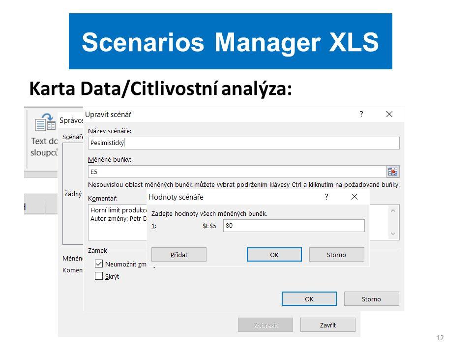Karta Data/Citlivostní analýza: 12 Scenarios Manager XLS