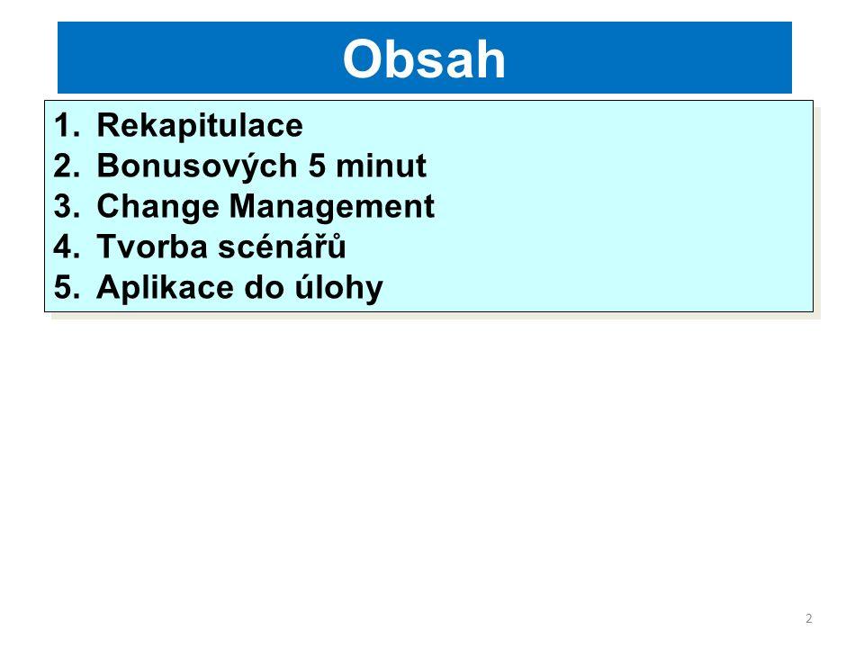 2 Obsah 1.Rekapitulace 2.Bonusových 5 minut 3.Change Management 4.Tvorba scénářů 5.Aplikace do úlohy 1.Rekapitulace 2.Bonusových 5 minut 3.Change Management 4.Tvorba scénářů 5.Aplikace do úlohy
