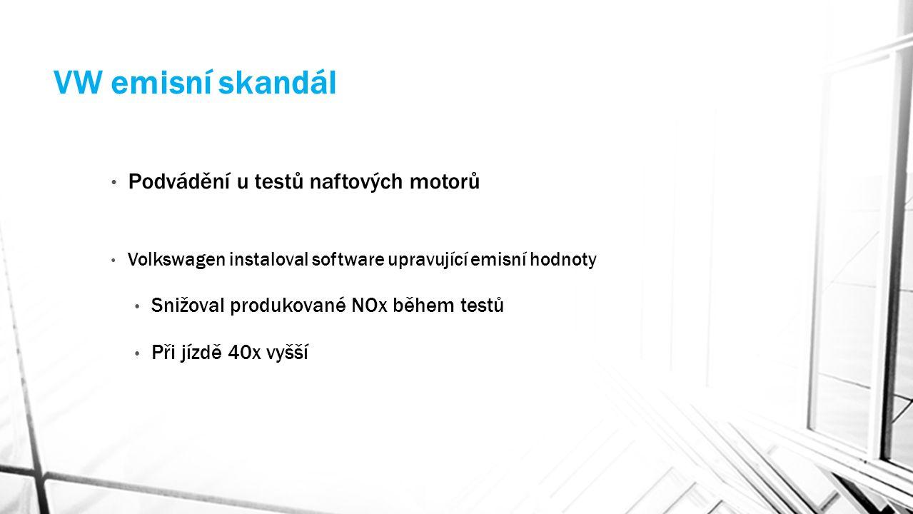 VW emisní skandál Podvádění u testů naftových motorů Volkswagen instaloval software upravující emisní hodnoty Snižoval produkované NOx během testů Při jízdě 40x vyšší