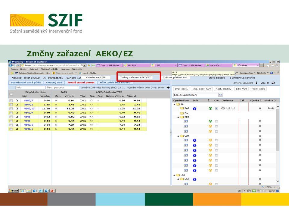 Změny zařazení AEKO/EZ