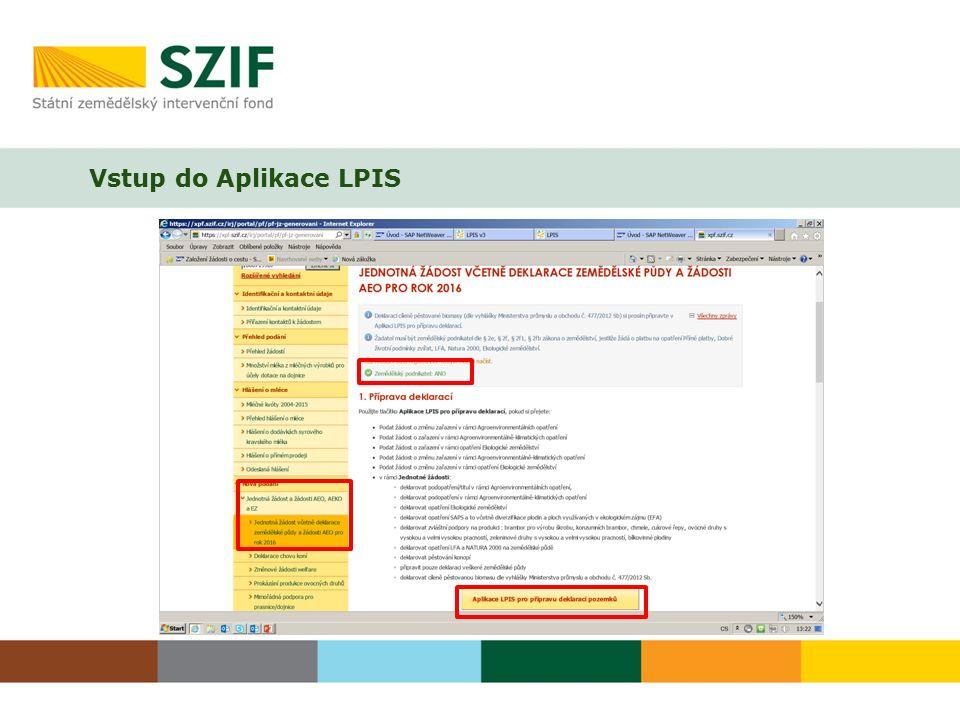 Vstup do Aplikace LPIS