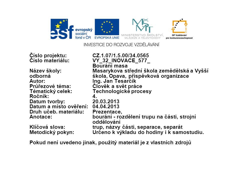 Číslo projektu:CZ.1.07/1.5.00/34.0565 Číslo materiálu:VY_32_INOVACE_577_ Bourání masa Název školy: Masarykova střední škola zemědělská a Vyšší odborná