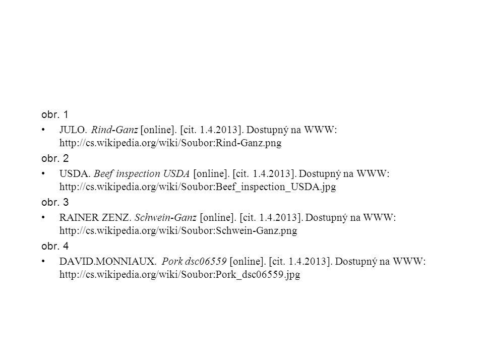 obr. 1 JULO. Rind-Ganz [online]. [cit. 1.4.2013]. Dostupný na WWW: http://cs.wikipedia.org/wiki/Soubor:Rind-Ganz.png obr. 2 USDA. Beef inspection USDA