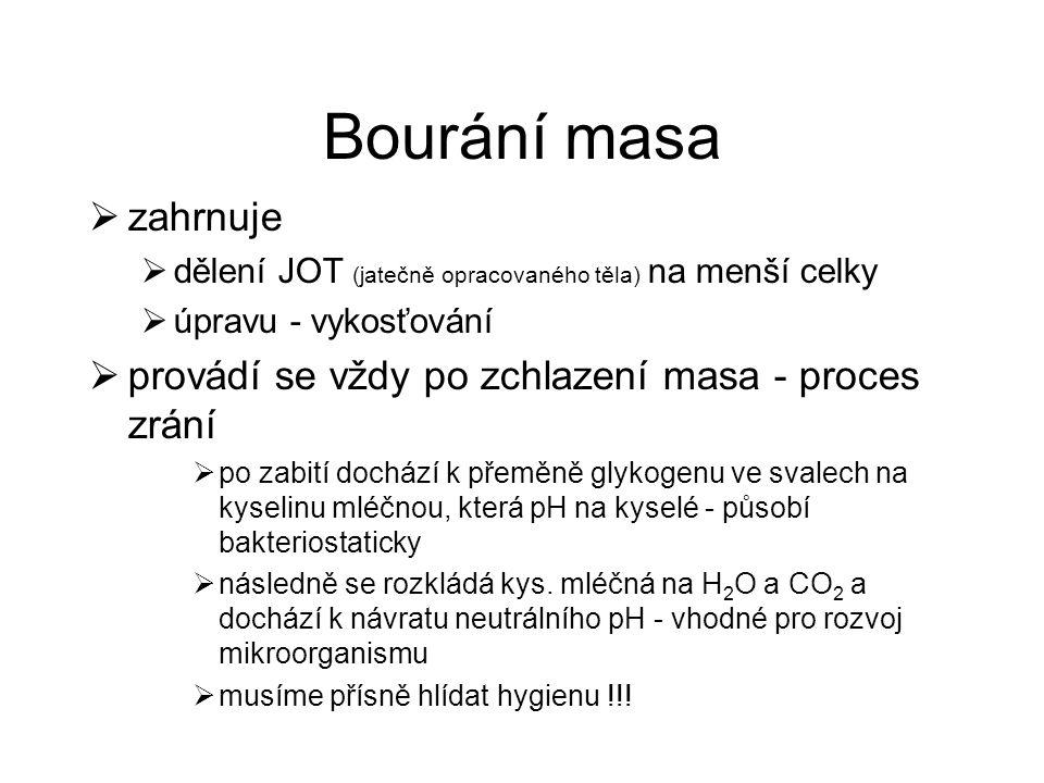 Bourání masa  zahrnuje  dělení JOT (jatečně opracovaného těla) na menší celky  úpravu - vykosťování  provádí se vždy po zchlazení masa - proces zr