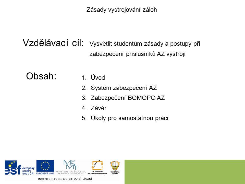 Vzdělávací cíl: Obsah: Zásady vystrojování záloh Vysvětlit studentům zásady a postupy při zabezpečení příslušníků AZ výstrojí 1.Úvod 2.Systém zabezpečení AZ 3.Zabezpečení BOMOPO AZ 4.Závěr 5.Úkoly pro samostatnou práci