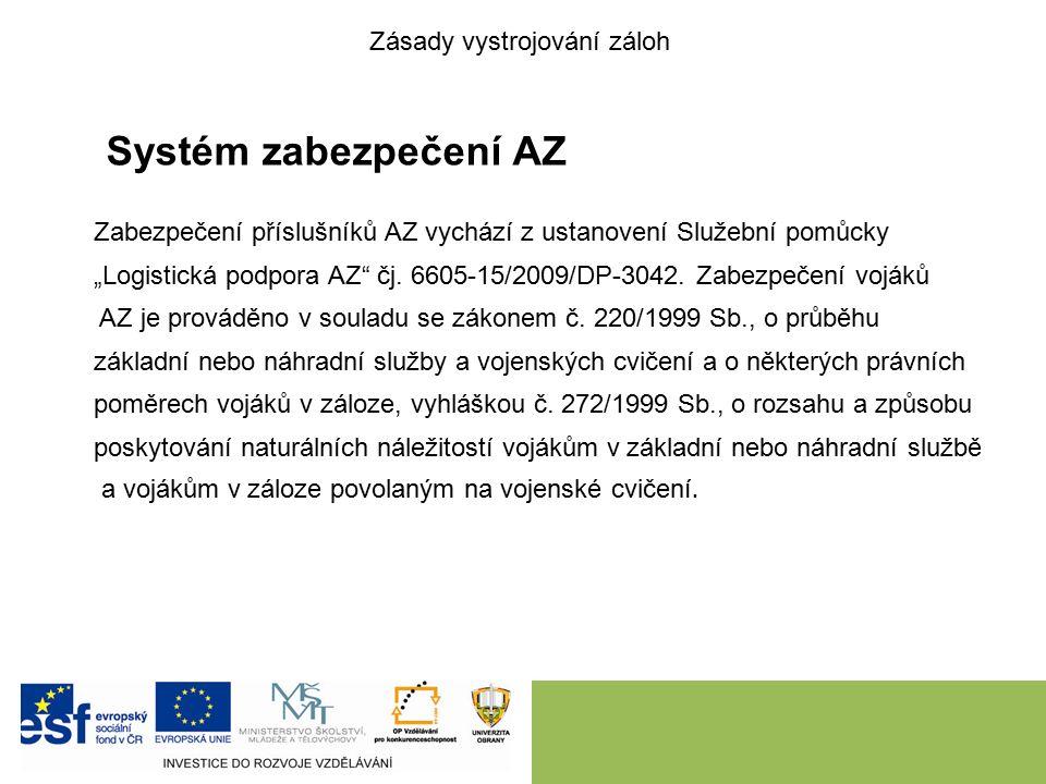 """Systém zabezpečení AZ Zabezpečení příslušníků AZ vychází z ustanovení Služební pomůcky """"Logistická podpora AZ čj."""